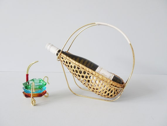 Bar Accessories Mid Century, ashtray set in stand and bottle holder rattan 1950s