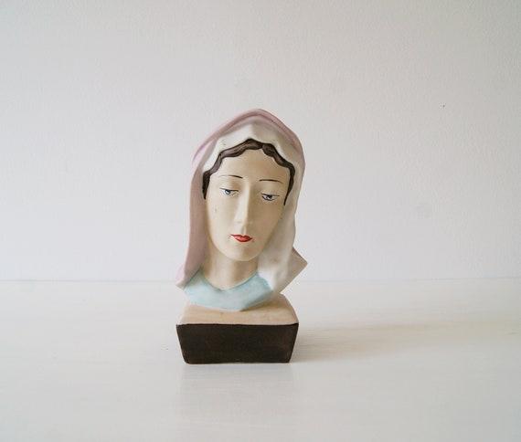 Madonna statue, small Madonna head torso, sacred sculpture