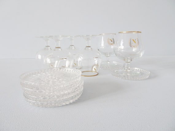 Shot glasses with glass divider made of glass and lead crystal, bar set Mid Century