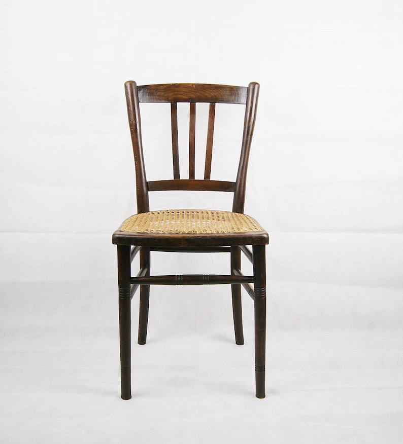 Wooden Chair With Woven Seat Bistro Chair Dining Chair Etsy