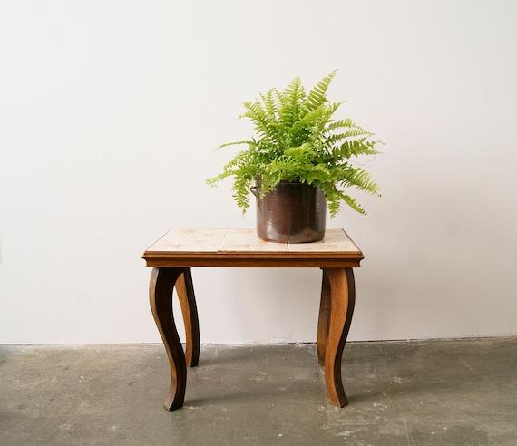 Flower bench tiled 1950s, plant stool, side table