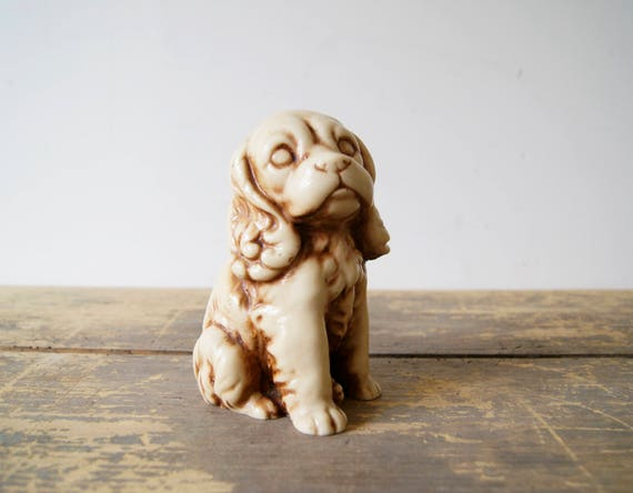 Dog figure made of synthetic resin 70s, dog deco, figure Cocker Spaniel, resin figure