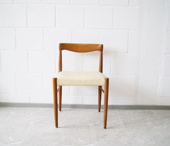 Teak chair H. W. Klein for Bramin Denmark, wooden chair, upholstered chair, side chair