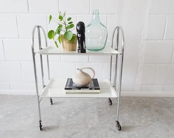 white dinet serving trolley, foldable vintage bar trolley