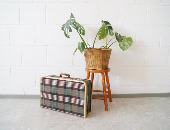Suitcases checked 1960s, green checked travel suitcase