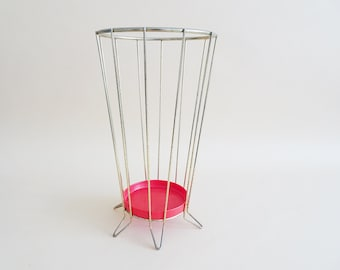 golden metal umbrella stand with red drip tray, 1950s