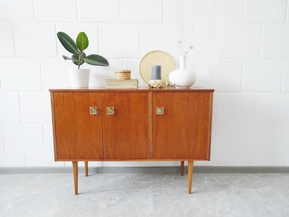 Mid Century Sideboard Teak Brass ThreeDoors, 60s Cabinet, Chest of Drawers