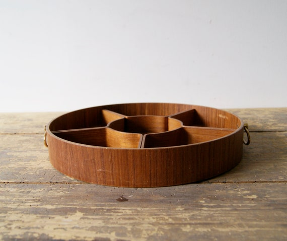Teak tray - serving bowl divided, table decoration and kitchen accessories 60s