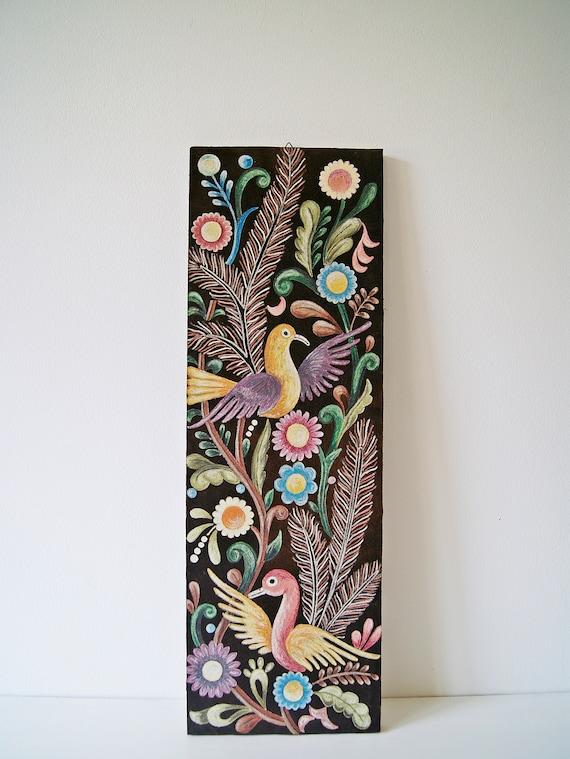Folklore picture handmade, mid century accessories, mural birds