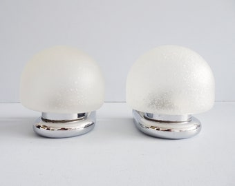 Wall lamps set of glass and chrome, minimalist wall lamps, mirror lamp