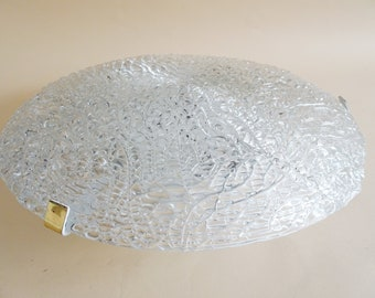 large round mid-century ceiling lamp made of textured glass