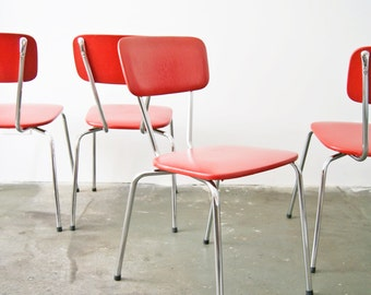 Chair set mid century, kitchen chair, chairs red Chrome