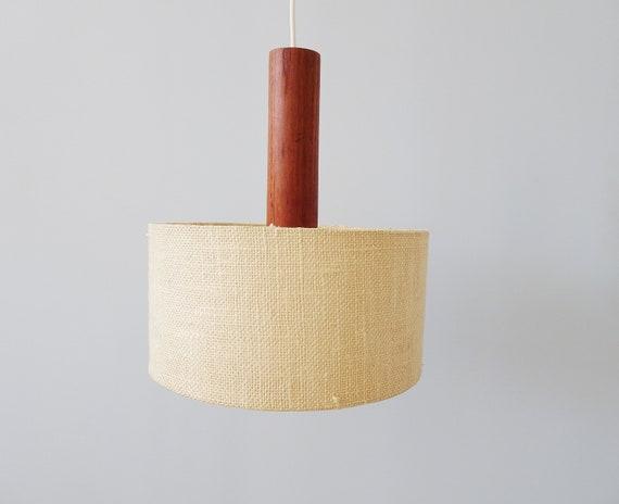 Teak scandinavian hanging lamp and beige fabric lampshade, mid century lighting beige brown