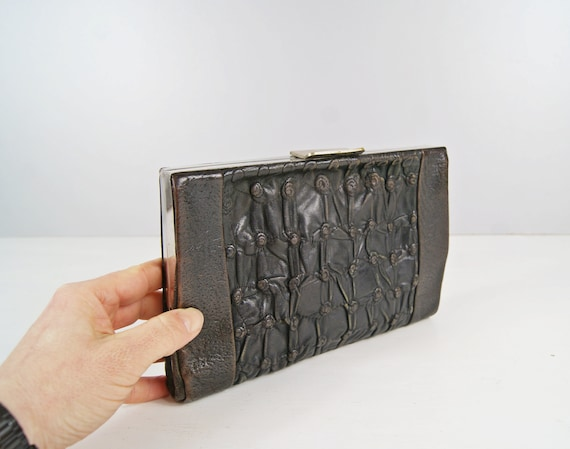 Art Deco Clutch - Evening bag in dark leather with intervention