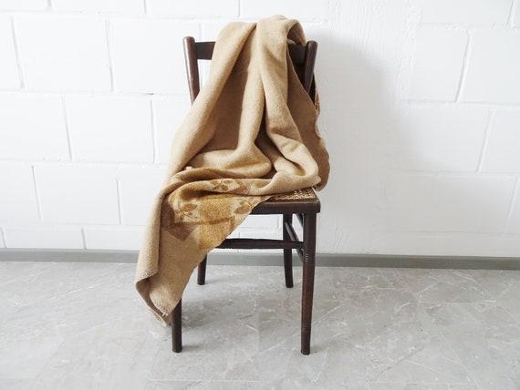 Vintage wool blanket felt in beige amber, large felt blanket