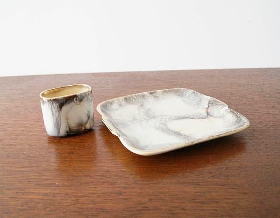 Mid Century ceramic set, supply bowl, smoking set