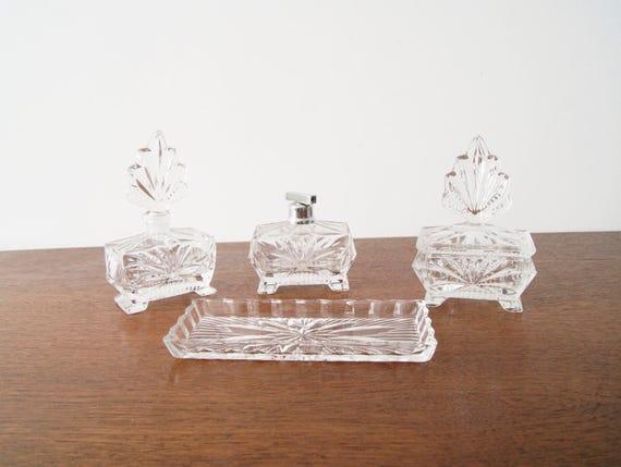 Bottle, crystal, dressing table, bottle set, perfume, atomizer, lead crystal, flacons