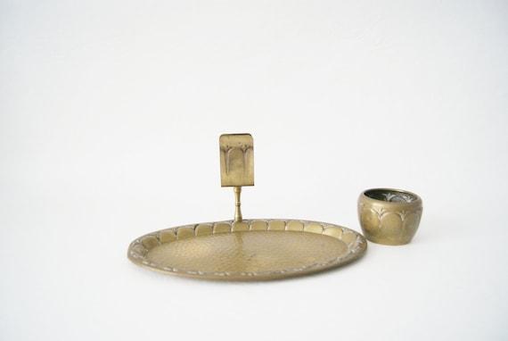 Brass set art deco, ashtray, bowl, smoker set
