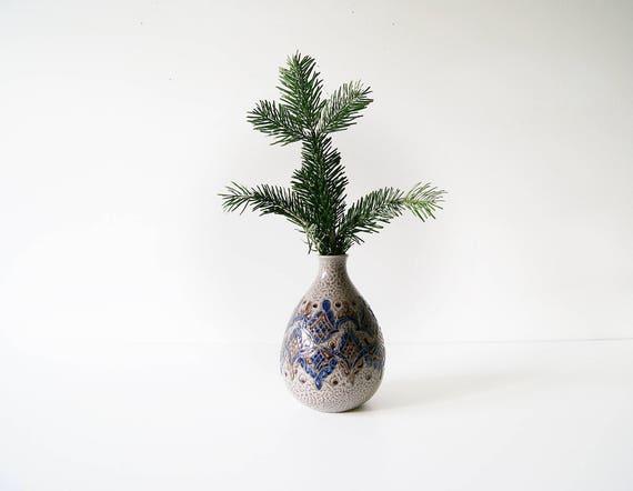 Vintage vase of Marchi and Remy, Vase Ritzdekor, bulbous vase, ceramic vase, vase grey blue, flower vase, flower pots
