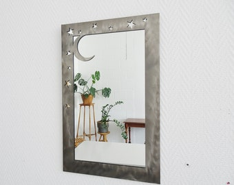 80s wall mirror in metal frame stars and moon, crystal mirror