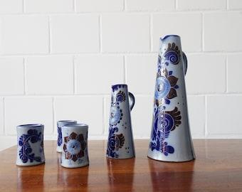 Stoneware Drinking set with jug and cup, Westerwald stoneware salt glazed