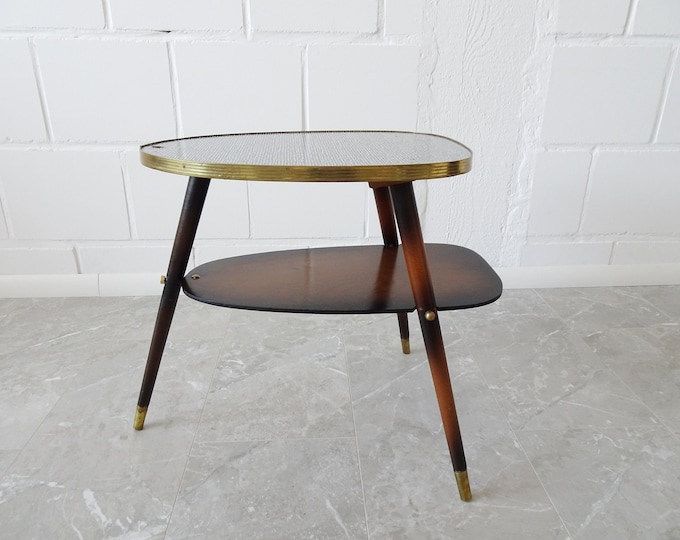 Featured listing image: Tripod side table in Formica and wood with brass details