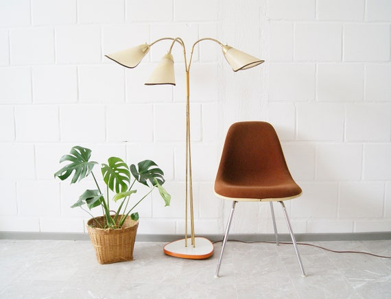 Three-armed floor lamp made of brass, Germany 1950s