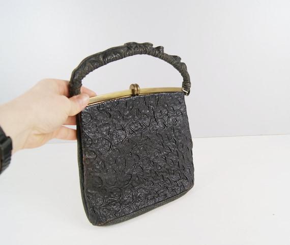 black handle bag in leather, art deco handbag, simple evening bag