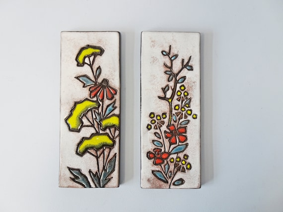 Ruscha ceramic wall tiles with floral decoration, tile picture Mid Century