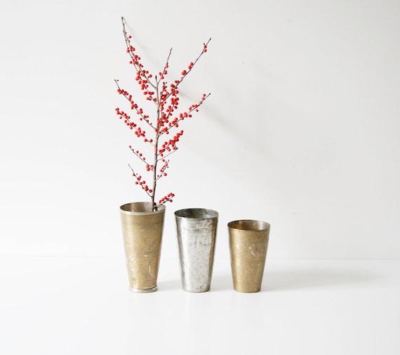 Vase Brass Mug oriental, hammered, engraved, brass vase, Orient, flower vase, gold, silver