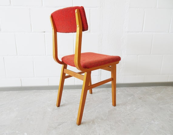 Casala wooden chair red upholstered, Mid Century upholstered chair