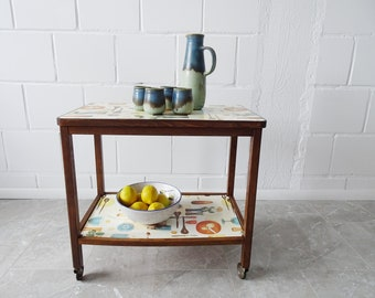 Wooden serving cart with two parking spaces, kitchen console table