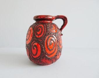 large vintage Scheurich vase with handle red black fat lava glaze, bulbous ceramic vase