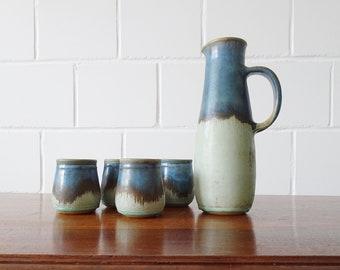Kamini Studio Ceramic Drinking Set, Juice Jug with Drinking Cups, Greek Pottery