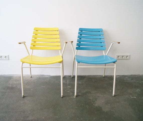Chairs, garden chair, armchairs outdoor stacking mid century in yellow and light blue