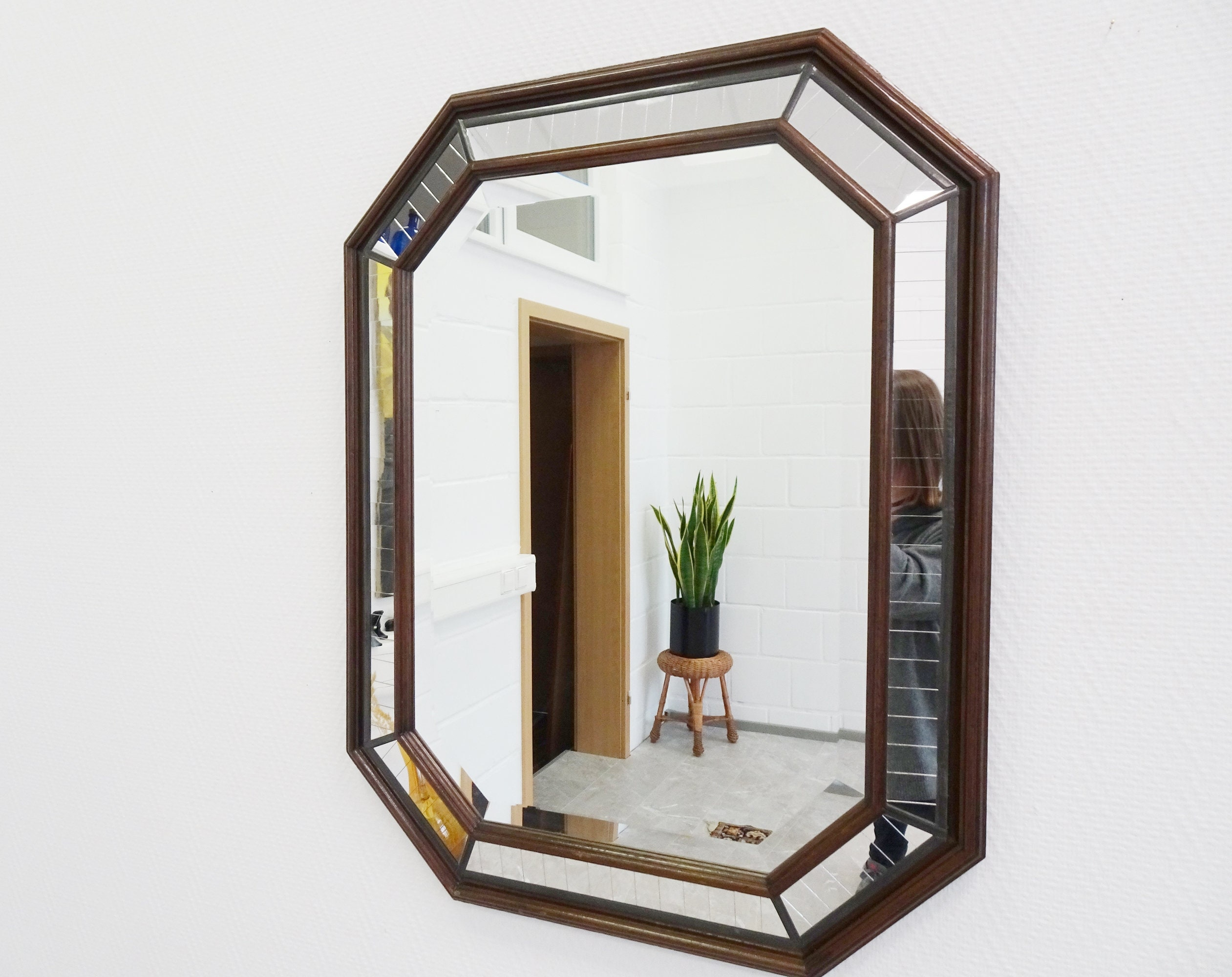 Large Art Deco Mirror Framed Lead Glass Mirror 30s Wall Mirror