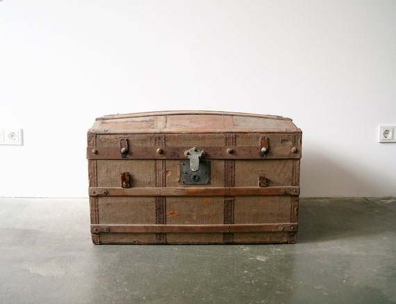 antique overseas suitcase, wooden chest, box, industrial style, loft design