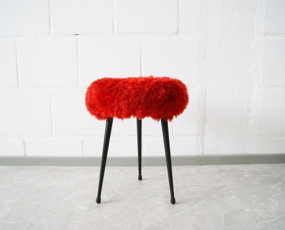 Stool with plush cover red, fur stool, metal stool, tripod mid century