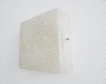 Vintage Wand- oder Deckenlampe aus Eisglas, Mid Century Plafoniere