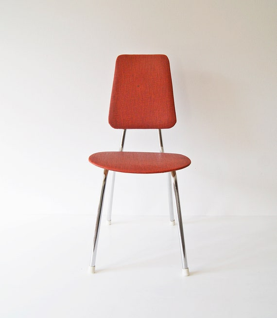 Children's chair chrome mid century, rockabilly child, small chair, red chairs