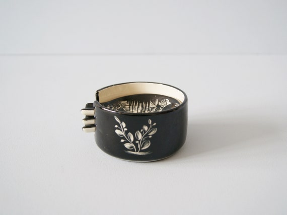 Libertas Rep. San Marino Ceramic Ashtray Set of 3, Mid Century Ceramic Black