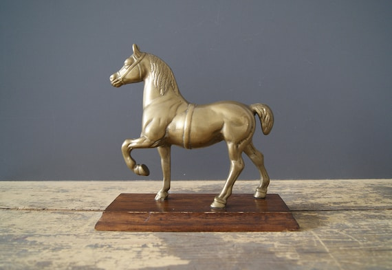 Brass Horse on Wooden Base, Mid Century Decor, Horse Sculpture, Bookend