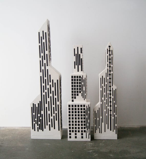 Paper mache deco object, the city, the city, recycled, handmade, art, 102 cm high, in three parts