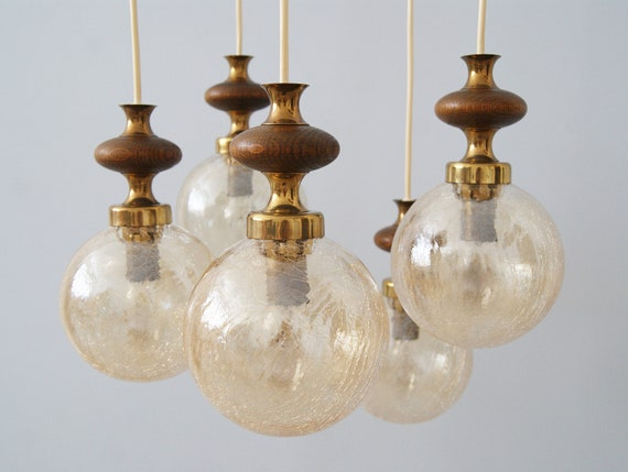 Cascade lamp made of brass, glass and wood, ball hanging lamp amber