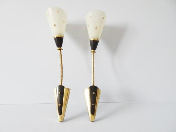 Wall lamps set with gooseneck, wall spotlight 1950s, bag lamp brass glass