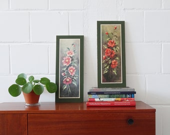 50s Pictures Set with Roses, Art Print Flowers, Santa Clara Picture Mid Century