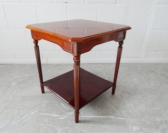Console table in wood glossy lacquered, side table with two parking spaces