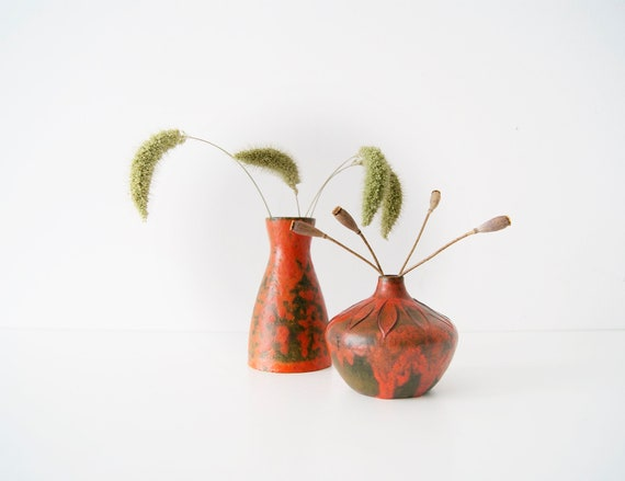 Vase set, Studio ceramics, Ruscha, ceramics, small vases, red vases Vulcano