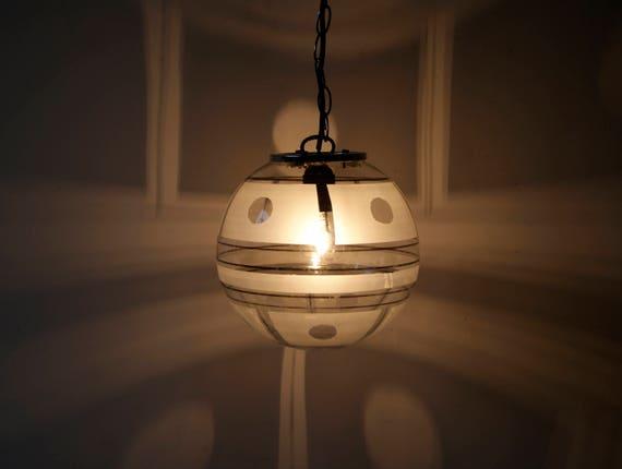 Pendant lamp 60s 70s, glass globe lamp, space age design