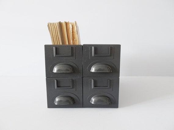 Metal drawers set in grey, industrial storage, storage, small shelf